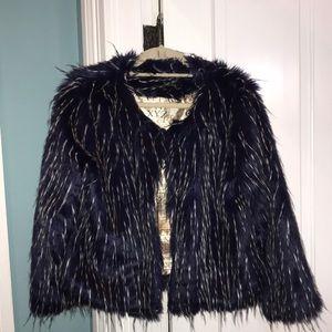 RAGA faux fur crop jacket with pockets